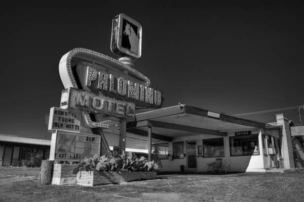 Photograph - Tucumcari - Palomino Motel 001 Bw by Lance Vaughn