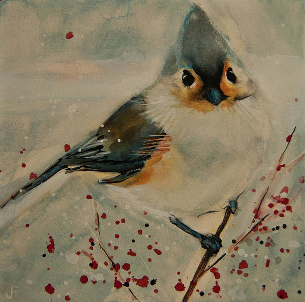 Painting - Tufted Blue Titmouse by Jani Freimann