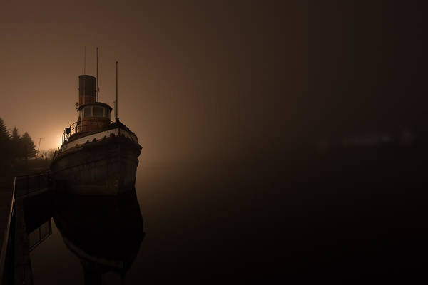 Abandonment Wall Art - Photograph - Tug Boat In Fog by Jakub Sisak