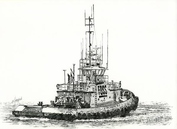 Tugboat Wall Art - Drawing - Tugboat Daniel Foss by James Williamson