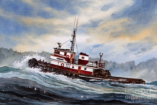 Tug Wall Art - Painting - Tugboat Earnest by James Williamson