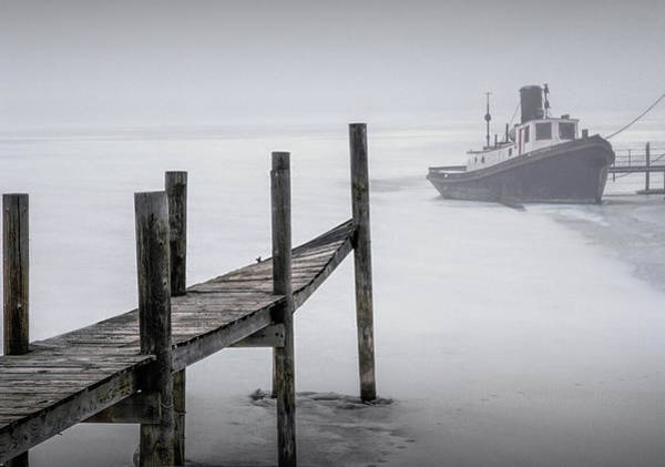 Photograph - Tugboat Stuck In The Winter Ice by Randall Nyhof