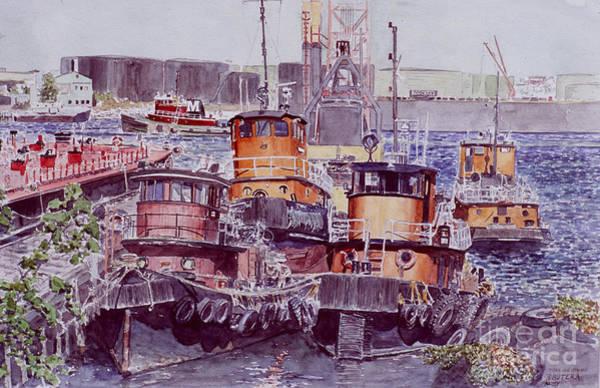 Tugboat Wall Art - Painting - Tugboats Kill Van Kull Staten Island by Anthony Butera