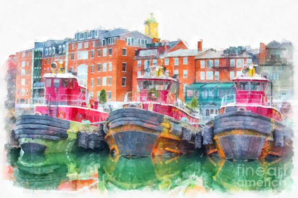 Digital Art - Tugboats Portsmouth New Hampshire Watercolor by Edward Fielding