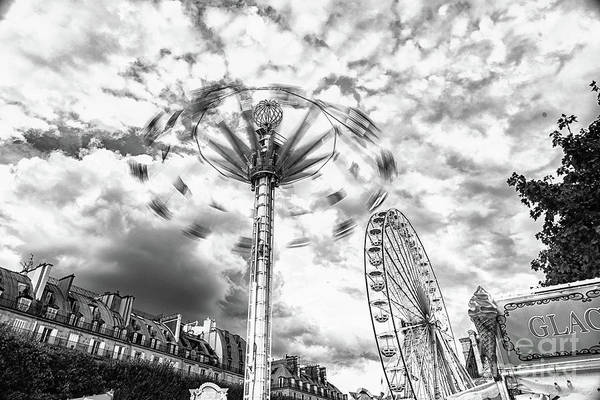 Photograph - Tuilerie Garden Swing In Motion Black And White by Alissa Beth Photography