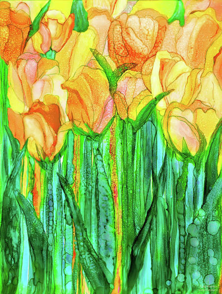 Mixed Media - Tulip Bloomies 1 - Yellow by Carol Cavalaris
