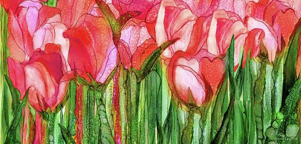 Mixed Media - Tulip Bloomies 4 - Red by Carol Cavalaris