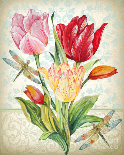 Tulip Bloom Painting - Tulip Botanicals-jp3804 by Jean Plout