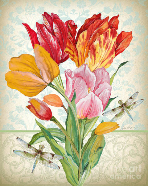 Tulip Bloom Painting - Tulip Botanicals-jp3805 by Jean Plout