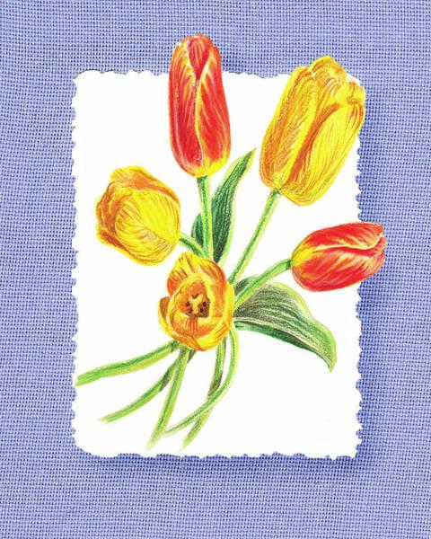 Tulip Bloom Painting - Tulip Bouquet On Baby Blue by Irina Sztukowski