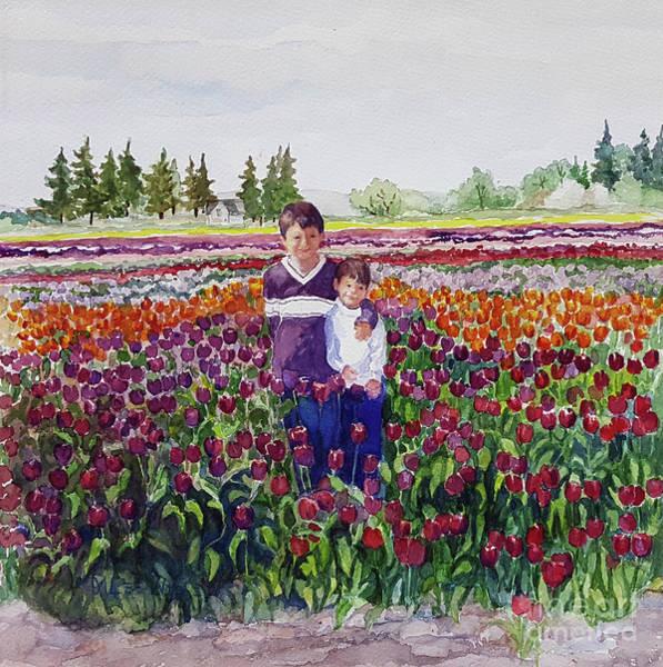 Skagit Valley Painting - Tulip Boys by Marilynn Wiese