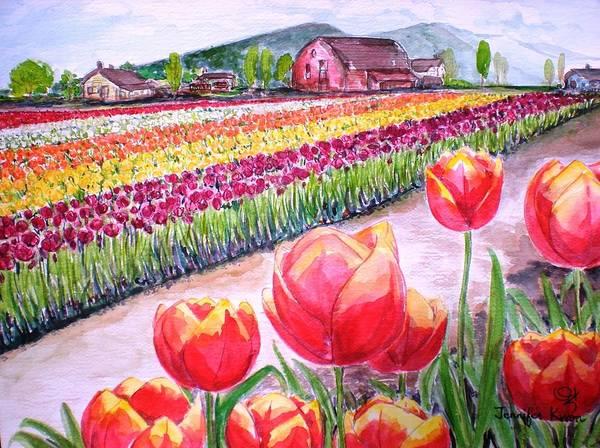 Wall Art - Painting - Tulip Fields by Jennifer Kwon