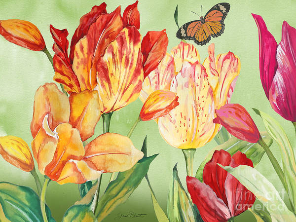 Tulip Bloom Painting - Tulip Garden-jp3026-a by Jean Plout