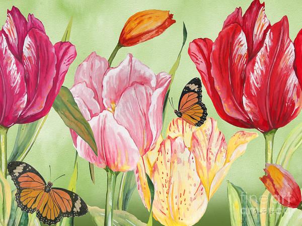 Tulip Bloom Painting - Tulip Garden-jp3026-b by Jean Plout