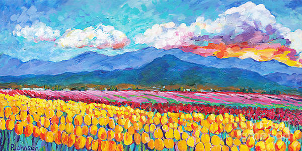 Skagit Valley Painting - Tulip Sunrise by Peggy Johnson