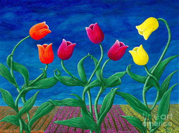 Skagit Valley Painting - Tulip Tango by Rebecca Parker