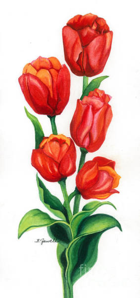 Wall Art - Painting - Tulip Time by Barbara Jewell
