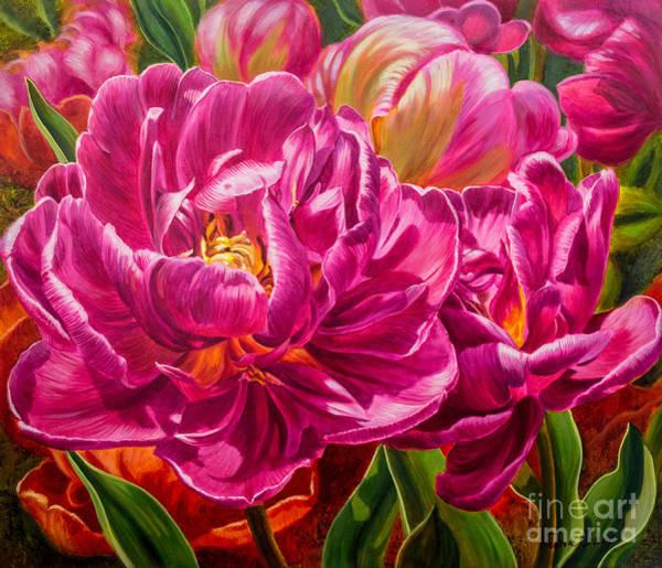 Tulip Bloom Painting - Tulipomania 8 Magenta Triumph by Fiona Craig