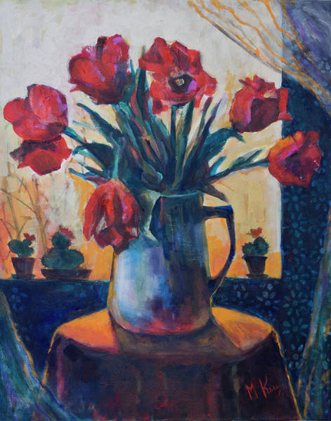 Painting - Tulips And Cacti by Maxim Komissarchik