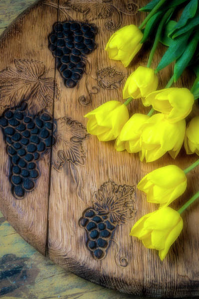 Wall Art - Photograph - Tulips And Carved Grapes by Garry Gay
