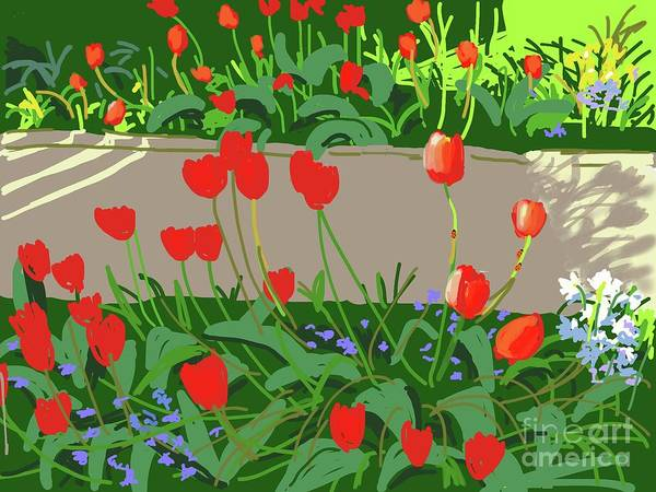 Bedding Digital Art - Tulips And Ladybirds by Andrew Macara