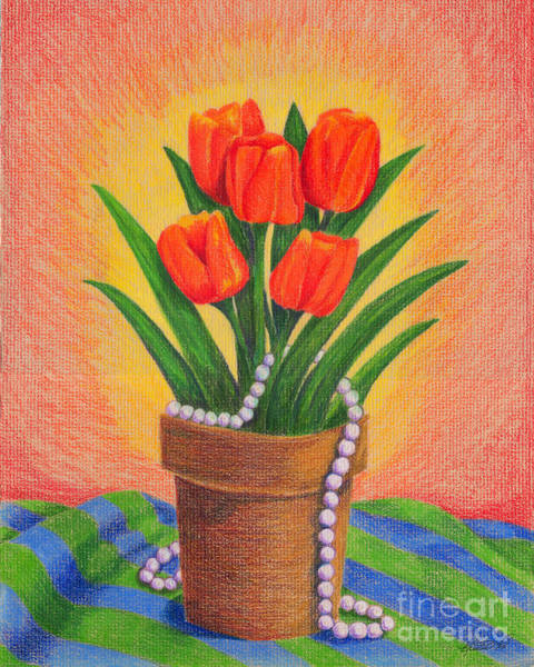 Drawing - Tulips And Pearls by Kristen Fox