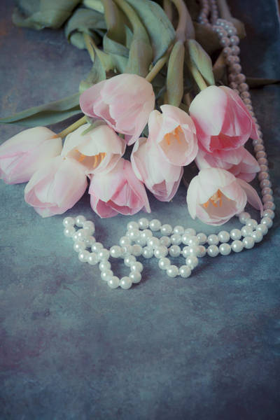 Photograph - Tulips And Pearls by Maria Heyens