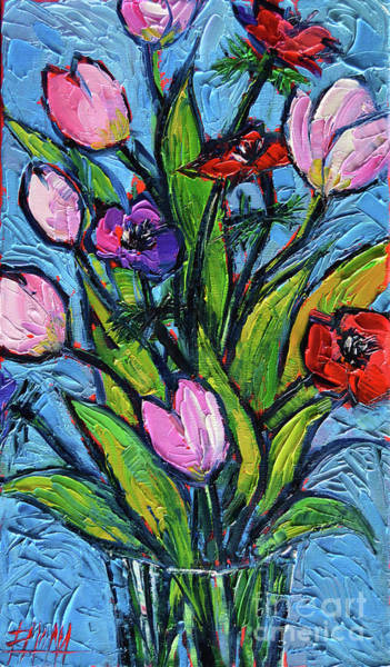 Shadow And Light Painting - Tulips And Poppies - Impasto Palette Knife Oil Painting by Mona Edulesco