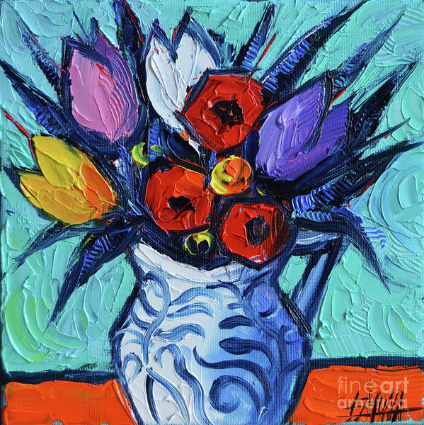 Shadow And Light Painting - Tulips And Poppies Mini Still Life by Mona Edulesco