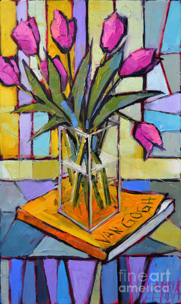 Shadow And Light Painting - Tulips And Van Gogh - Abstract Still Life by Mona Edulesco