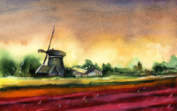 Painting - Tulips And Windmill From The Netherlands by Miki De Goodaboom