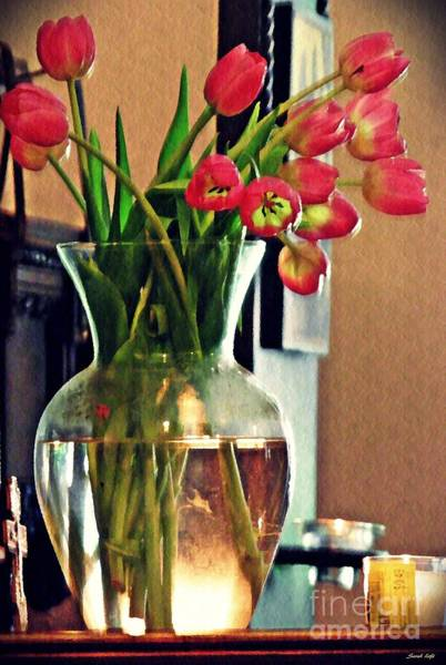 Flowers In A Vase Photograph - Tulips In A Vase by Sarah Loft