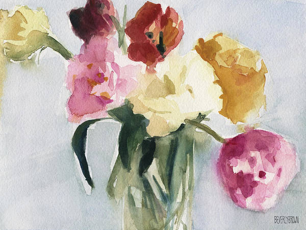Wall Art - Painting - Tulips In My Studio by Beverly Brown