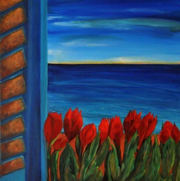Wall Art - Painting - Tulips In The Window by Aviva Moshkovich