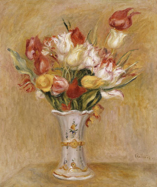 Wall Art - Painting - Tulips by Pierre Auguste Renoir