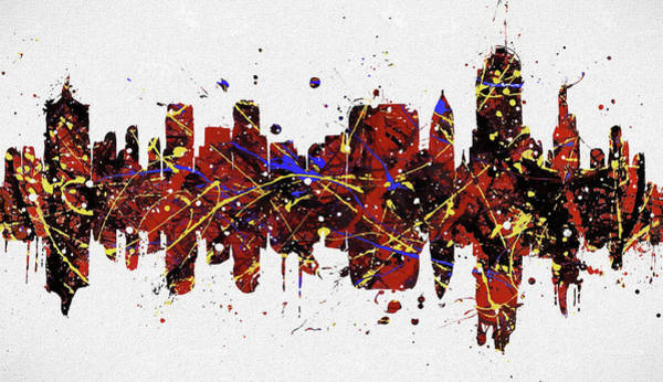 Wall Art - Painting - Tulsa Colorful Skyline by Dan Sproul