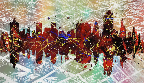 Wall Art - Digital Art - Tulsa Colorful Skyline On Vintage Map by Dan Sproul