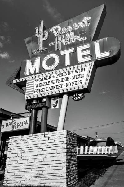 Photograph - Tulsa Desert Hills Motel Route 66 Wall Art - Black And White by Gregory Ballos