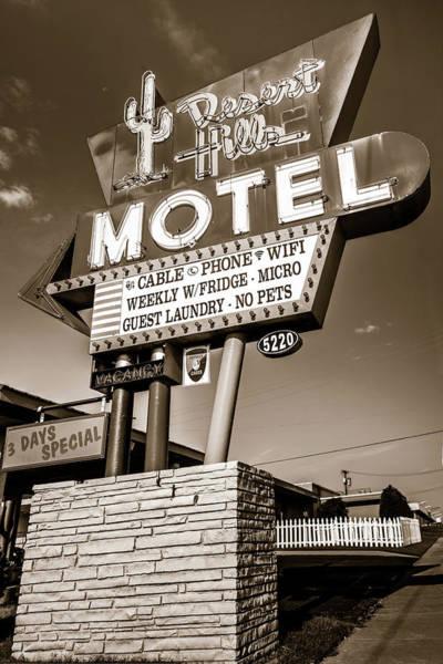 Photograph - Tulsa Desert Hills Motel Route 66 Wall Art - Sepia by Gregory Ballos