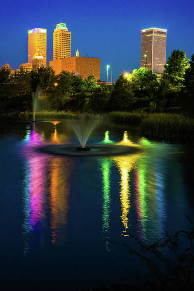 Tulsa Wall Art - Photograph - Tulsa Downtown Skyline - Bold Color by Gregory Ballos