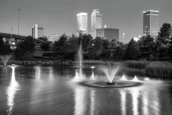 Tulsa Wall Art - Photograph - Tulsa Downtown Skyline Water Reflections - Black And White by Gregory Ballos