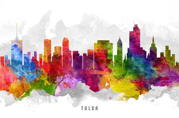 Tulsa Wall Art - Painting - Tulsa Oklahoma Cityscape 13 by Aged Pixel