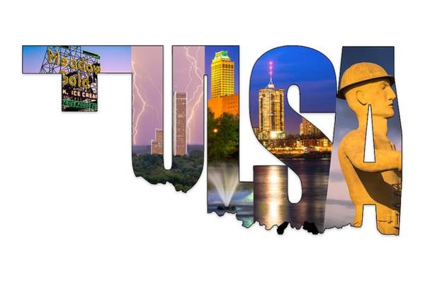 Photograph - Tulsa Oklahoma Collage Typography - State Shape Series by Gregory Ballos