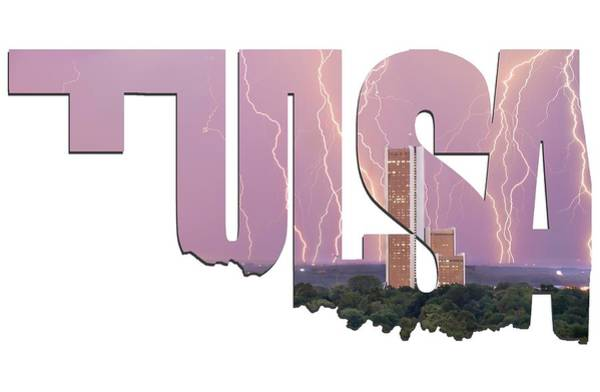 Photograph - Tulsa Oklahoma Letters Typographic - Electric Night - Cityplex Towers by Gregory Ballos
