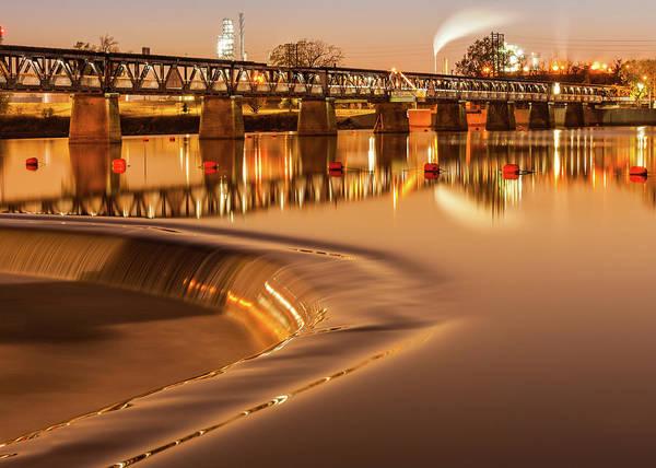 Photograph - Tulsa Oklahoma Old Pedestrian Bridge - Liquid Gold River by Gregory Ballos