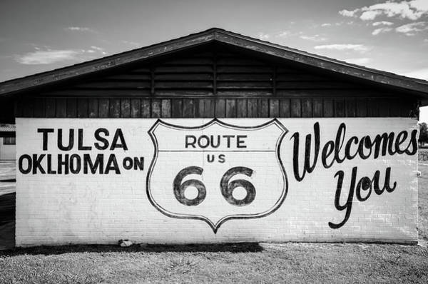 Mural Photograph - Tulsa Oklahoma On Us Route 66 Welcomes You - Black And White by Gregory Ballos