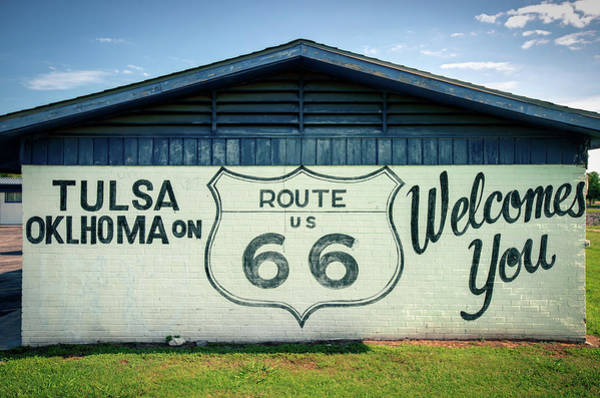 Mural Photograph - Tulsa Oklahoma On Us Route 66 Welcomes You by Gregory Ballos
