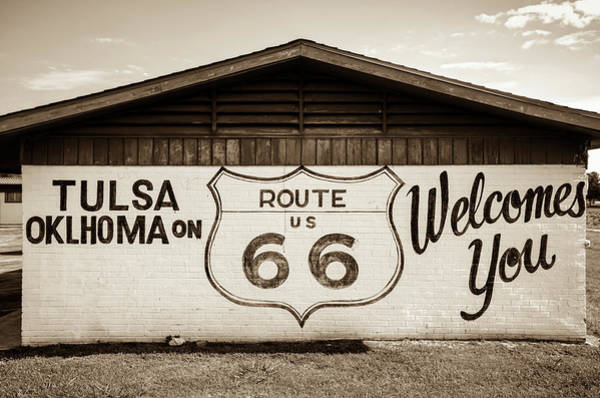 Mural Photograph - Tulsa Oklahoma On Us Route 66 Welcomes You - Sepia by Gregory Ballos