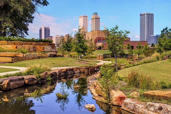 Tulsa Wall Art - Photograph - Tulsa Oklahoma Skyline From Centennial Park River by Gregory Ballos