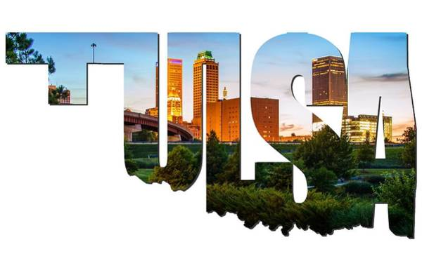 Photograph - Tulsa Oklahoma Typographic Letters - Beautiful Tulsa Oklahoma - Central Park by Gregory Ballos
